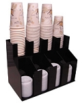 Vertical Coffee Cup and Lid Dispenser 4 Wide 2 deep