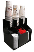 Cup Dispenser And Stirrer Organizer 3 Wide And 3 Deep For