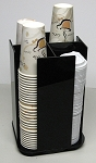 Coffee Cup and lid Dispenser Holder (la style) 4 Sleeve Spinning BLACK ACRYLIC ONLY