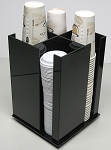 Coffee Cup and lid Dispenser Holder (Config a) 4 Sleeve Spinning BLACK ACRYLIC ONLY