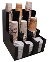 Vertical Coffee Cup and Lid Dispenser Holder