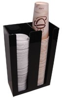 "Wall Mountable Soda Cup and lid Dispenser Rack 2 Sleeve W/5"" slots for 32oz cups"