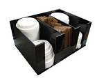 Removable Tray or coffee lid and hot cup sleeve dispenser