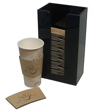 vertical large coffee sleeve dispenser